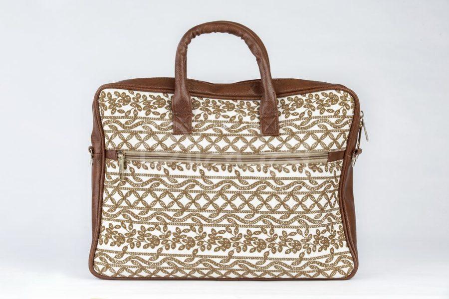 Lucknowi Stitch Ivory Base Laptop Bag3