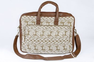 Lucknowi Stitch Sepia Laptop Bag