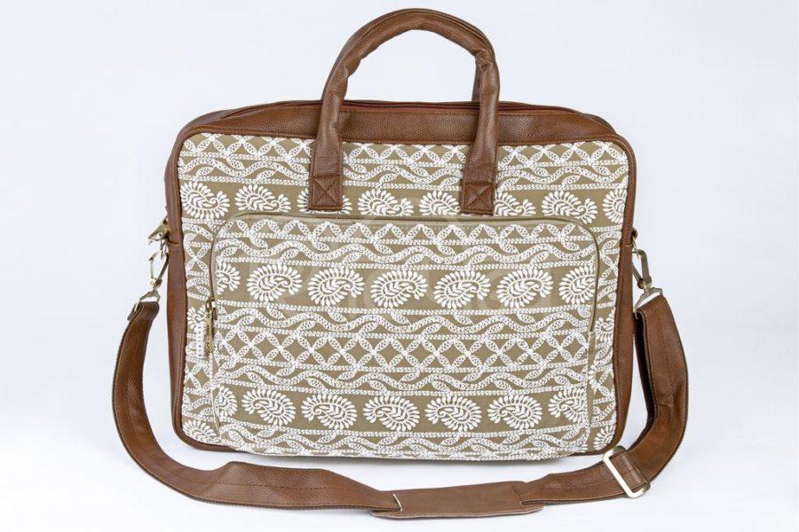 Lucknowi Stitch Sepia Laptop Bag