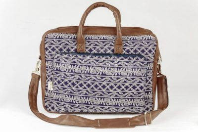 Lucknowi Stitch Navy Laptop Bag