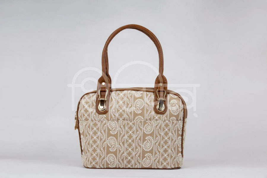 Lucknowi Stitch Sepia Office Handbag