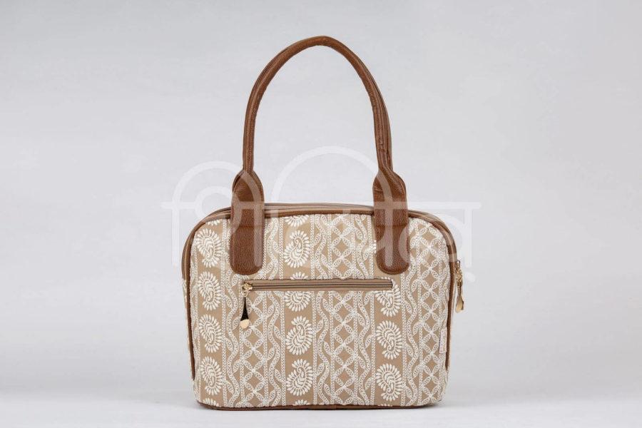 Lucknowi Stitch Sepia Office Handbag2