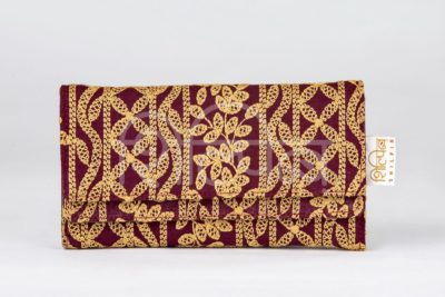 Lucknowi Stitch Cherry Red Double Flap Wallet