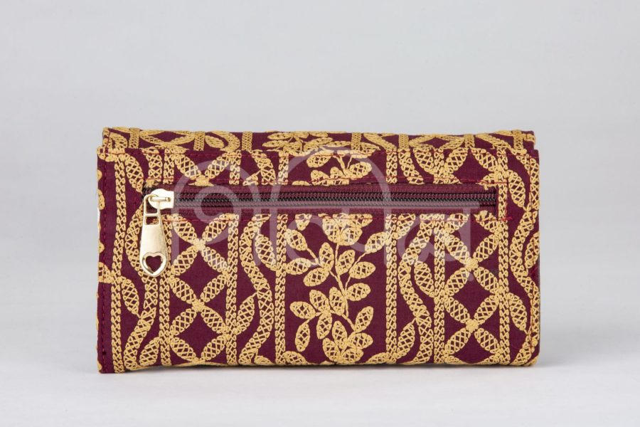 Lucknowi Stitch Cherry Red Double Flap Wallet2