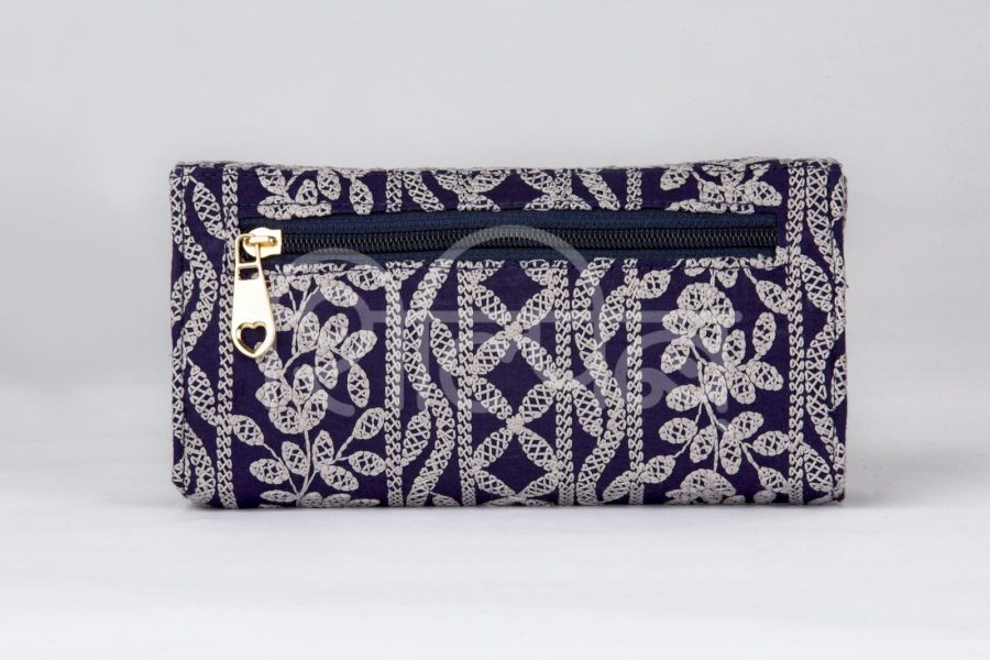 Lucknowi Stitch Navy Double Flap Wallet2