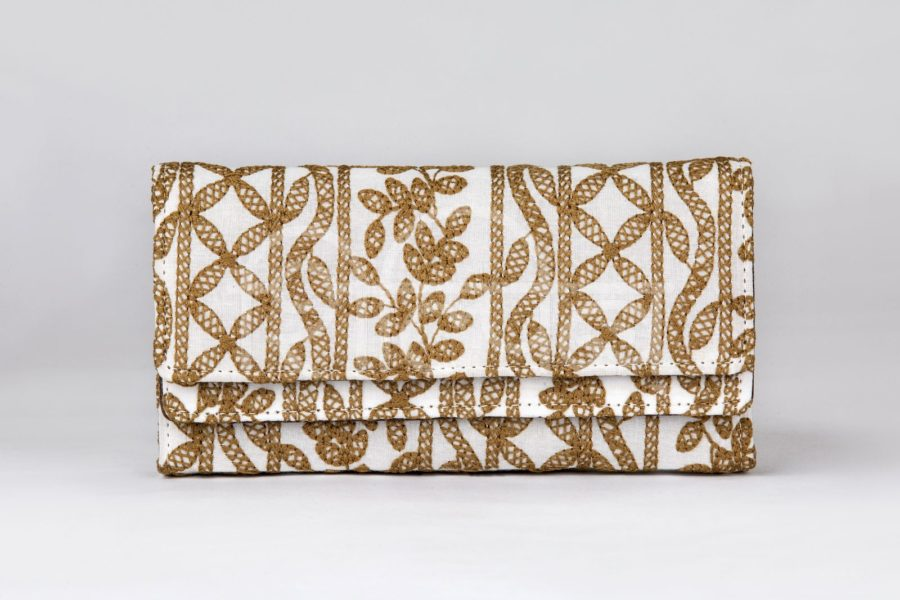 Lucknowi Stitch Ivory Base Double Flap Wallet