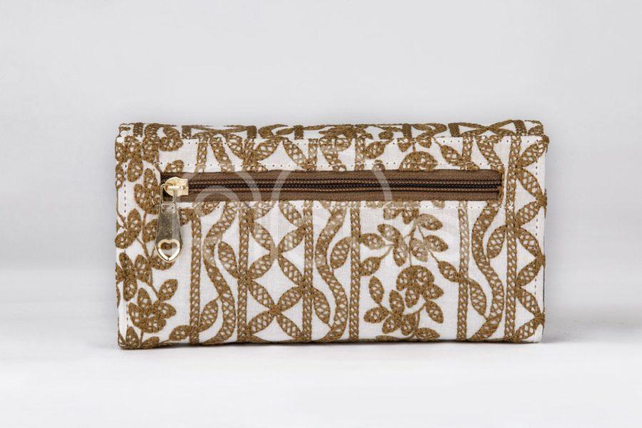 Lucknowi Stitch Ivory Base Double Flap Wallet2