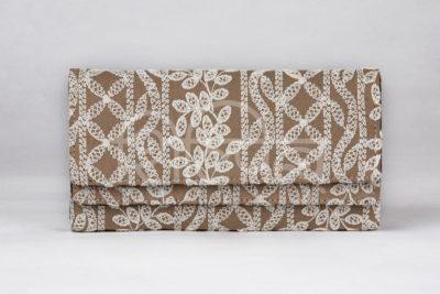 Lucknowi Stitch Sepia Double Flap Wallet